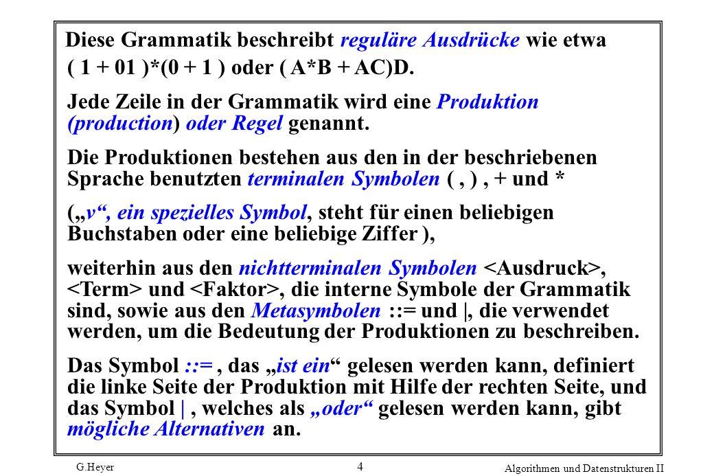 Diese Grammatik beschreibt reguläre Ausdrücke wie etwa