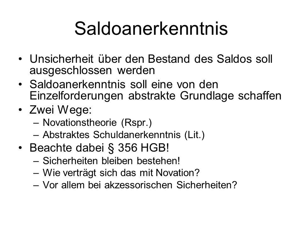 SaldoanerkenntnisUnsicherheit über den Bestand des Saldos soll ausgeschlossen werden.