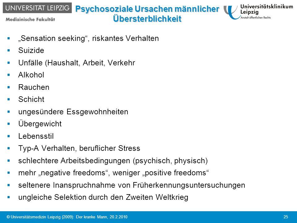 Psychosoziale Ursachen männlicher Übersterblichkeit