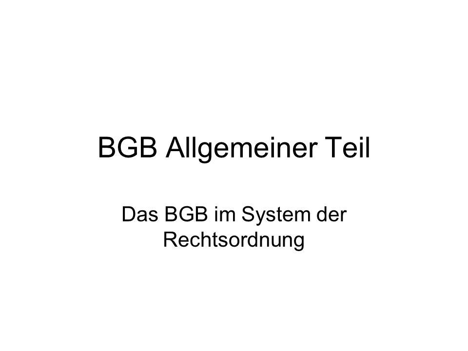 Das BGB im System der Rechtsordnung