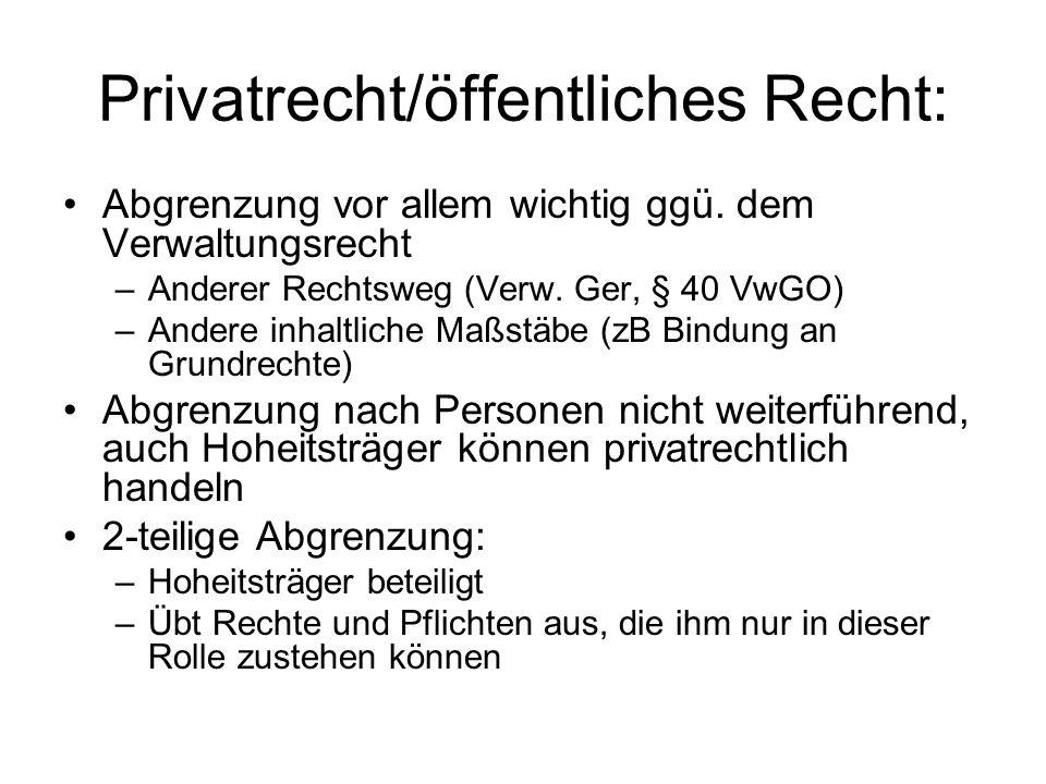 Privatrecht/öffentliches Recht: