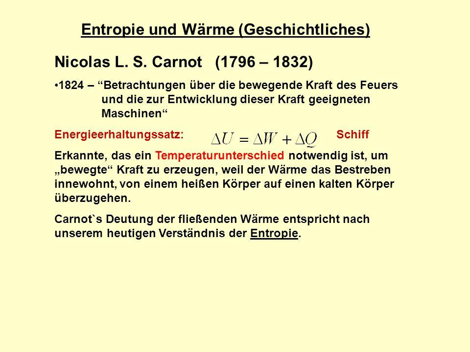 Entropie und Wärme (Geschichtliches)