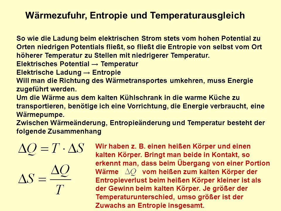 Wärmezufuhr, Entropie und Temperaturausgleich