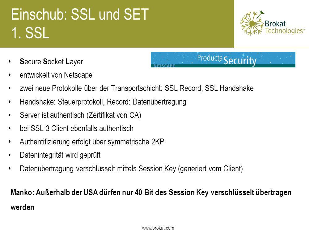 Einschub: SSL und SET 1. SSL