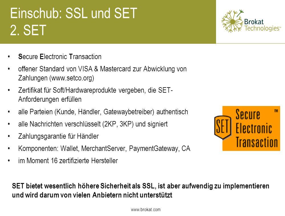 Einschub: SSL und SET 2. SET