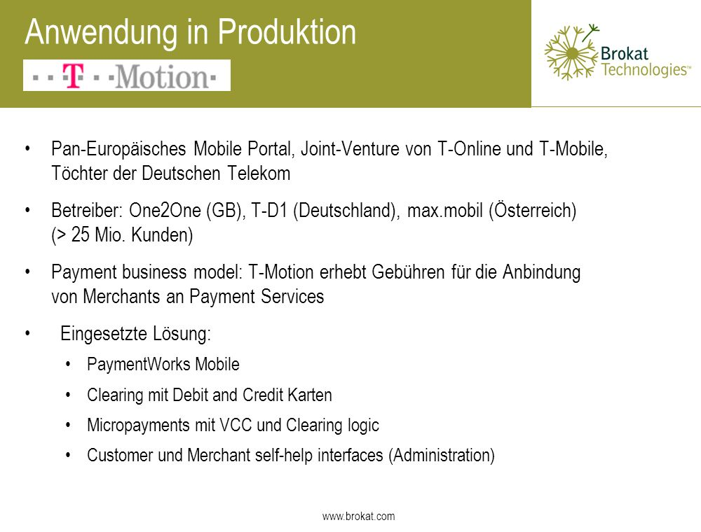 Anwendung in Produktion