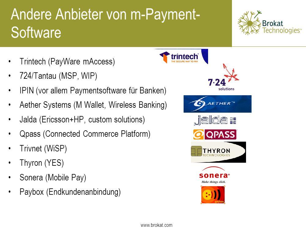 Andere Anbieter von m-Payment-Software