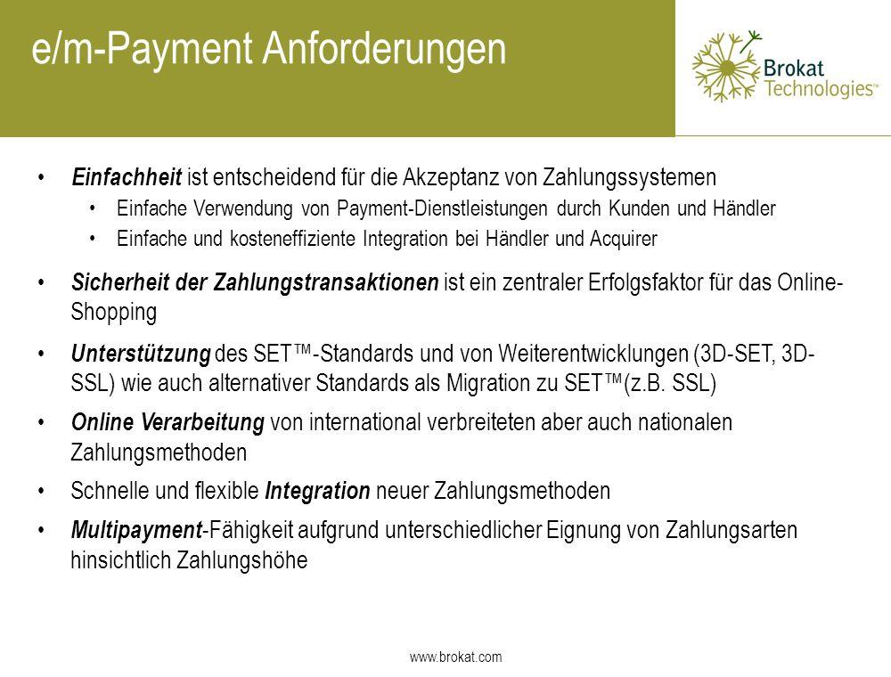 e/m-Payment Anforderungen