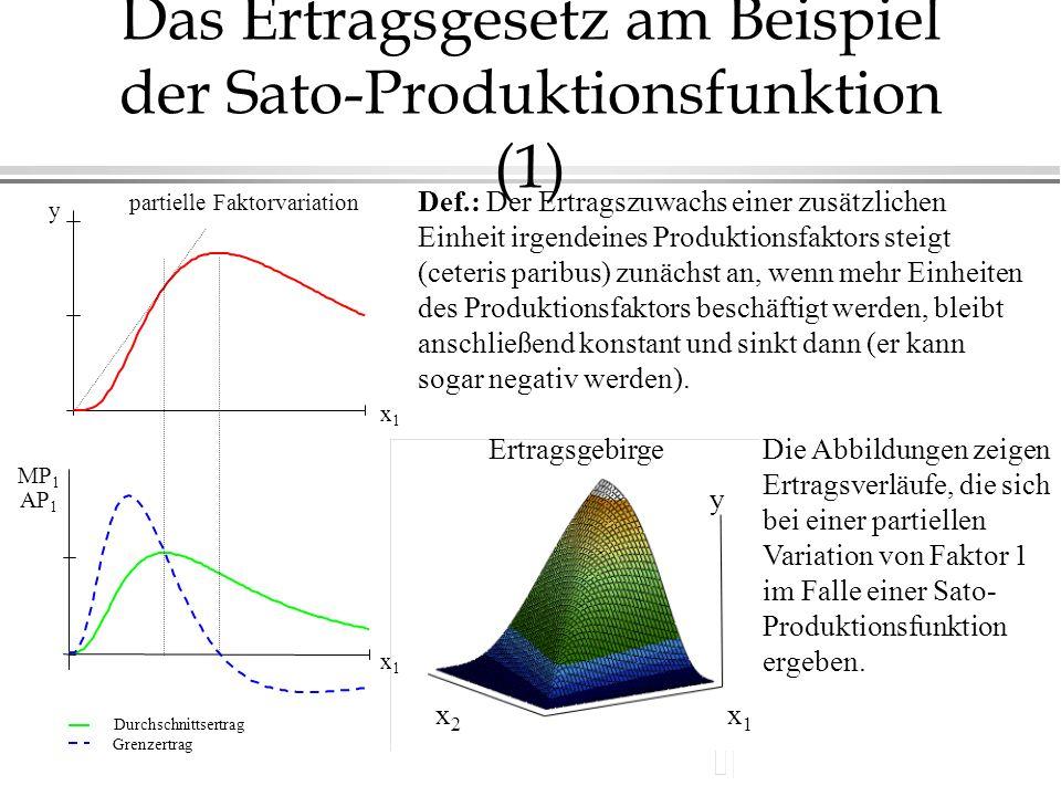 Das Ertragsgesetz am Beispiel der Sato-Produktionsfunktion (1)