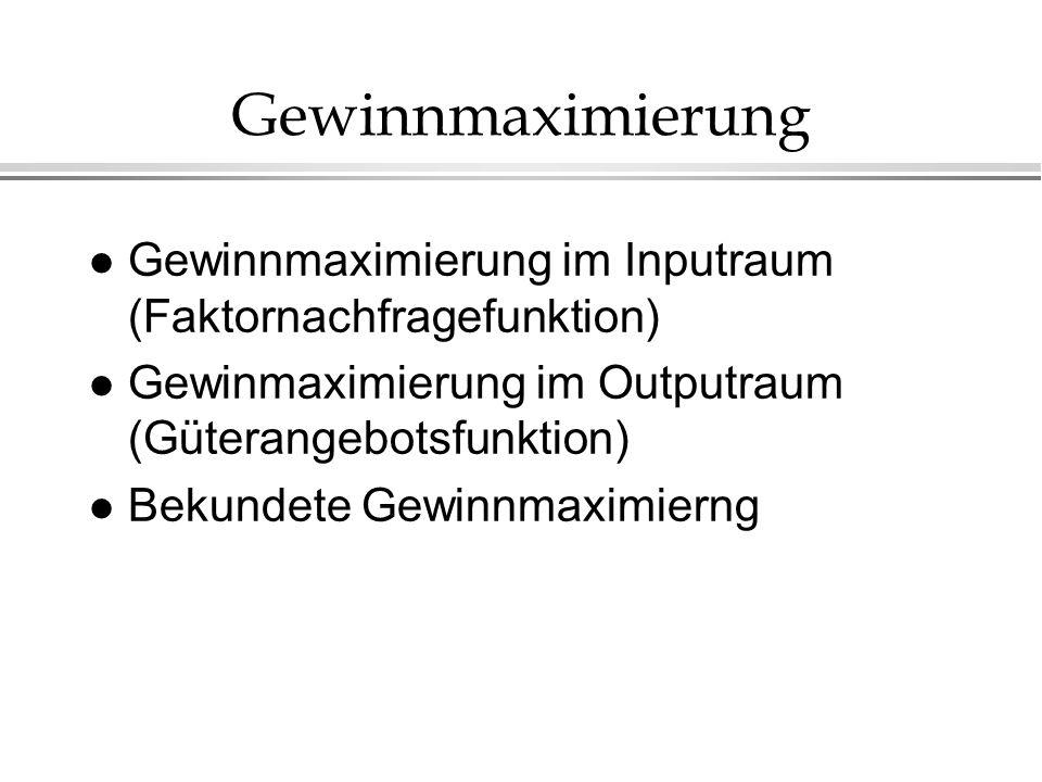 Gewinnmaximierung Gewinnmaximierung im Inputraum (Faktornachfragefunktion) Gewinmaximierung im Outputraum (Güterangebotsfunktion)