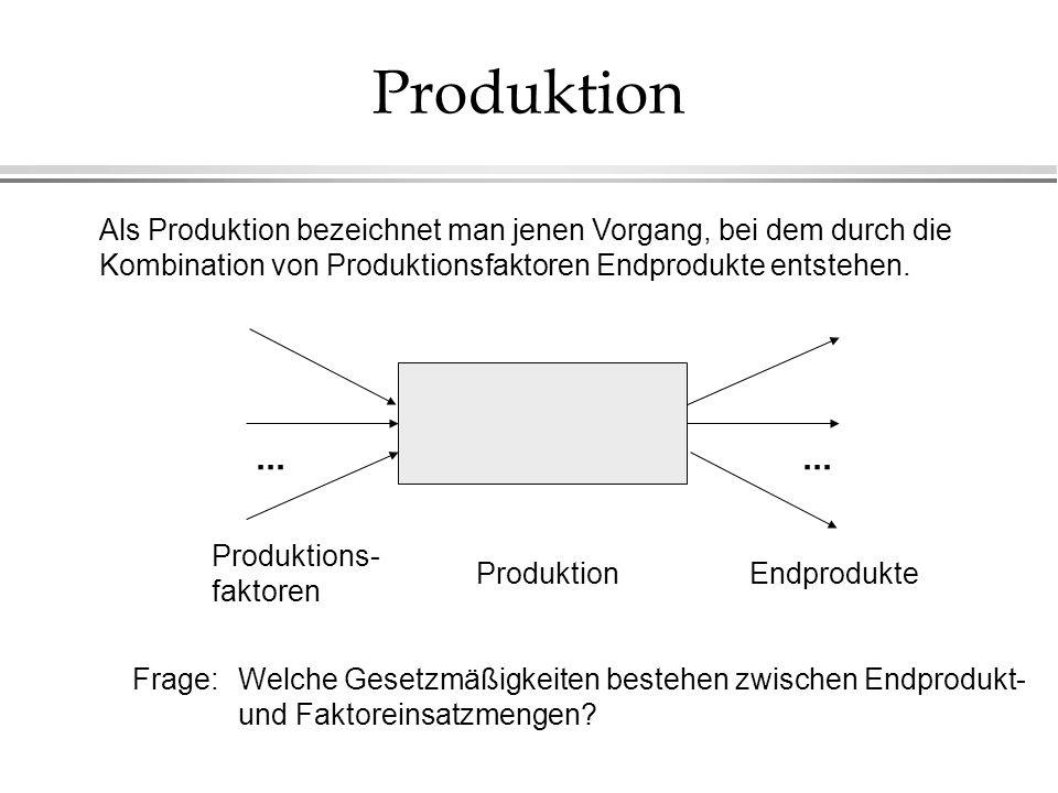 Produktion Als Produktion bezeichnet man jenen Vorgang, bei dem durch die Kombination von Produktionsfaktoren Endprodukte entstehen.