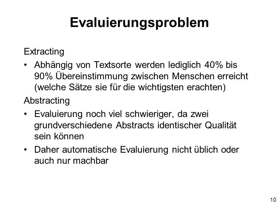 Evaluierungsproblem Extracting