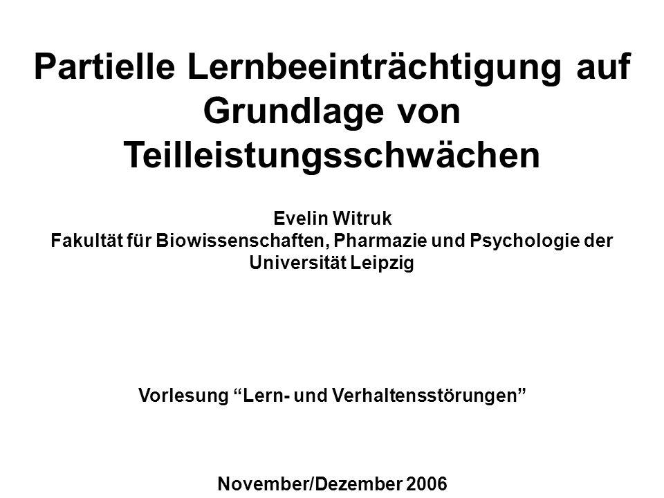 Vorlesung Lern- und Verhaltensstörungen