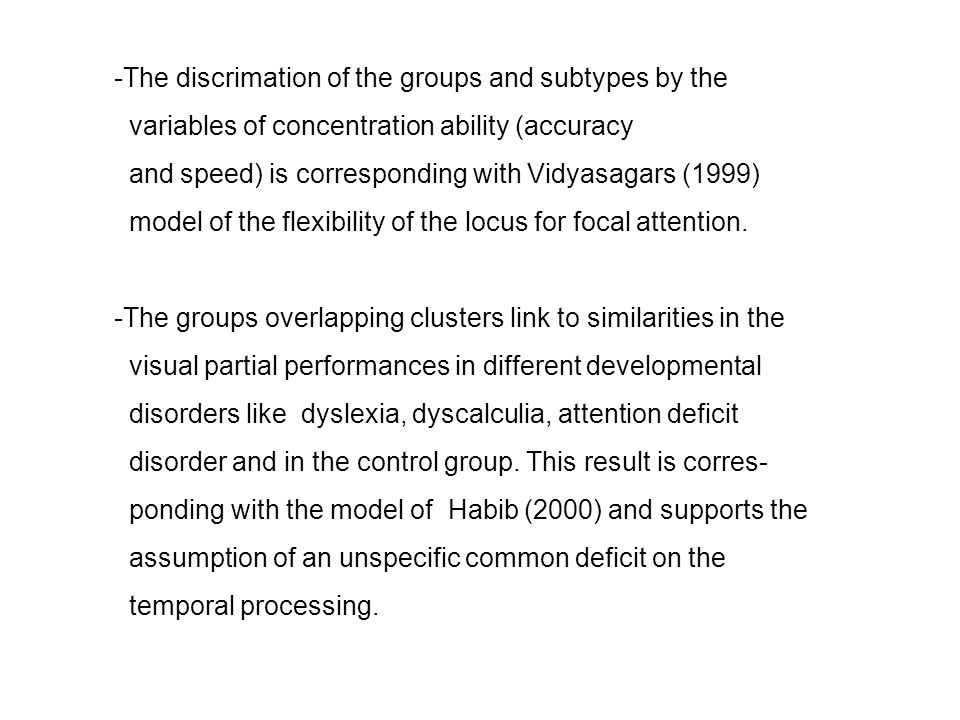 The discrimation of the groups and subtypes by the