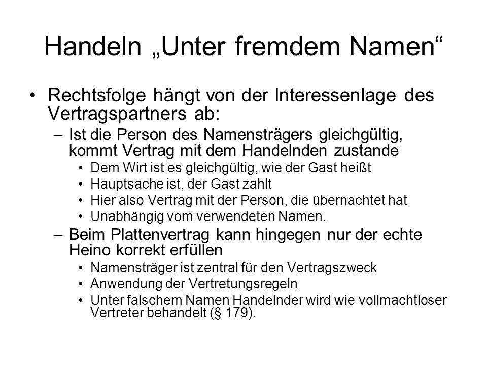 "Handeln ""Unter fremdem Namen"