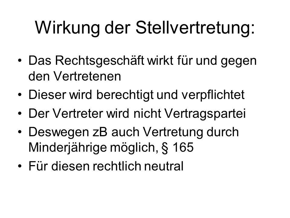 Wirkung der Stellvertretung: