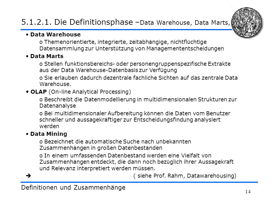 5.1.2.1. Die Definitionsphase –Data Warehouse, Data Marts,...
