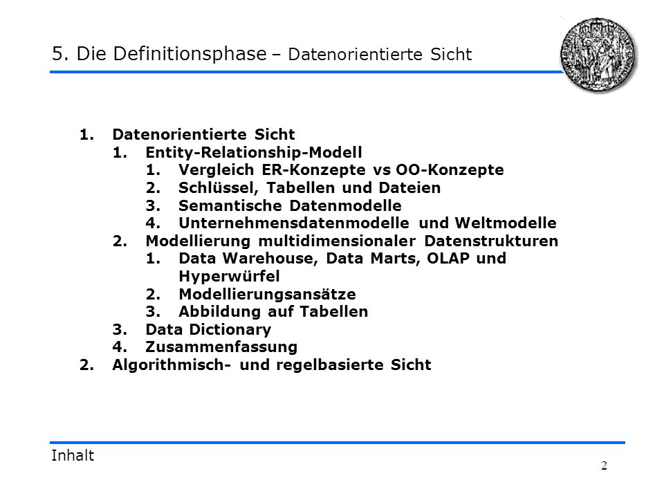 5. Die Definitionsphase – Datenorientierte Sicht