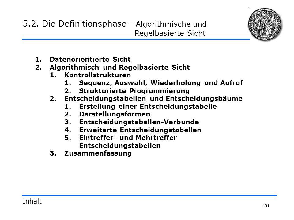5.2. Die Definitionsphase – Algorithmische und