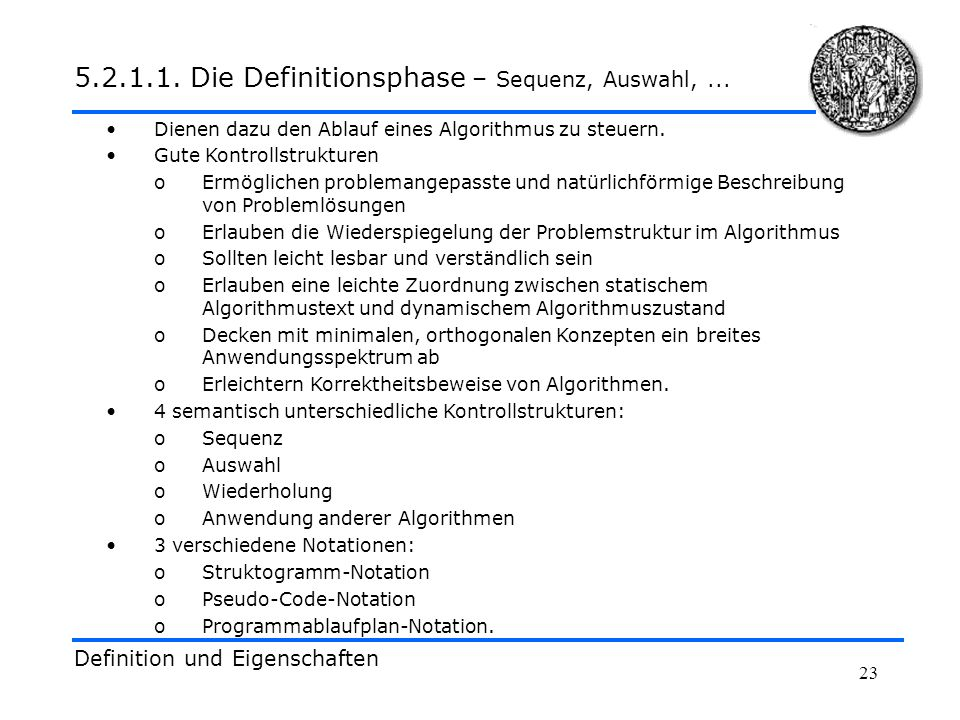 5.2.1.1. Die Definitionsphase – Sequenz, Auswahl, ...