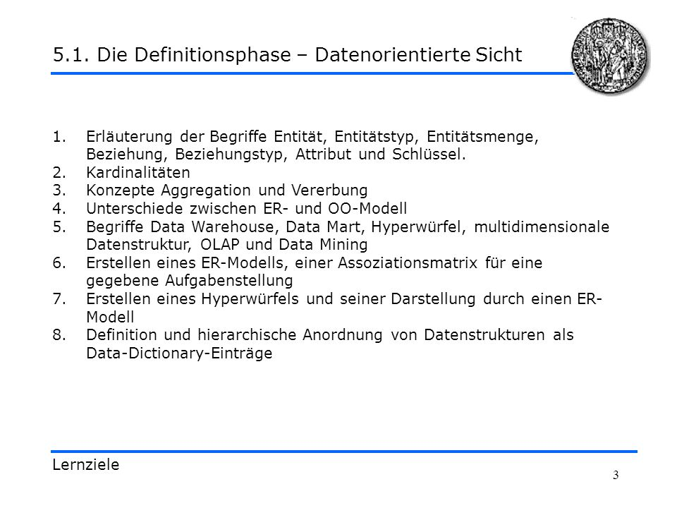 5.1. Die Definitionsphase – Datenorientierte Sicht