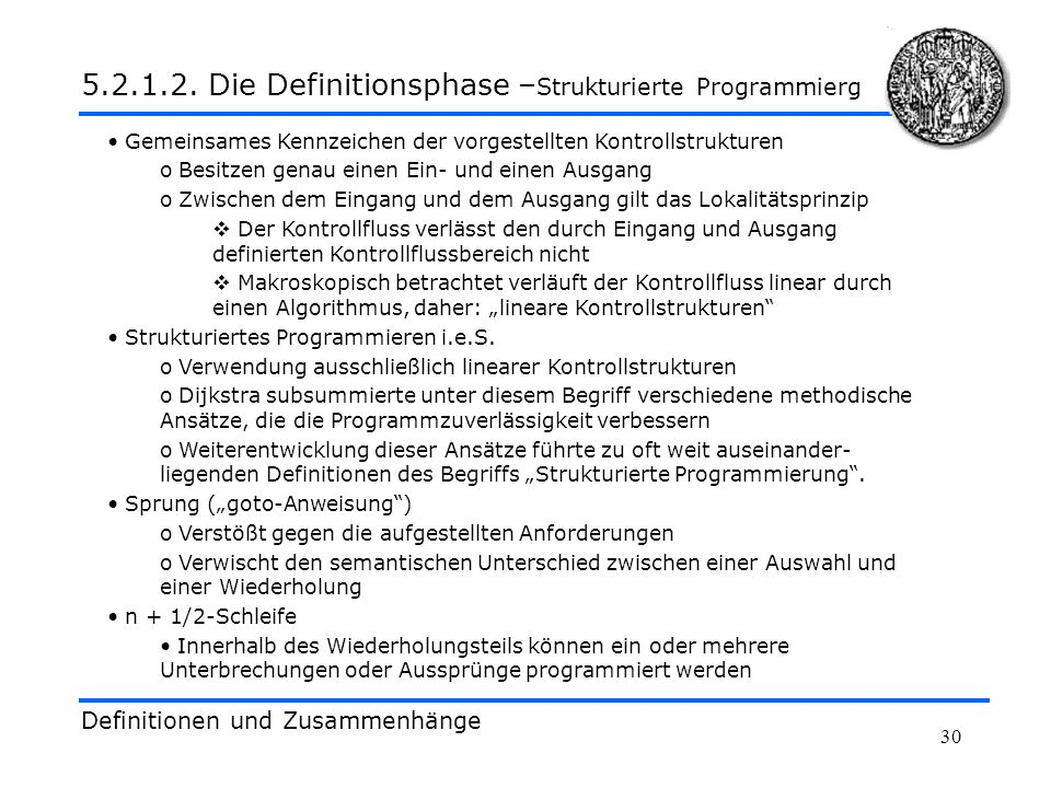 5.2.1.2. Die Definitionsphase –Strukturierte Programmierg