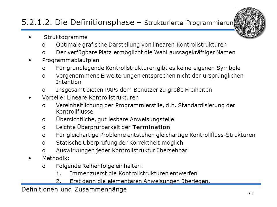 5.2.1.2. Die Definitionsphase – Strukturierte Programmierung