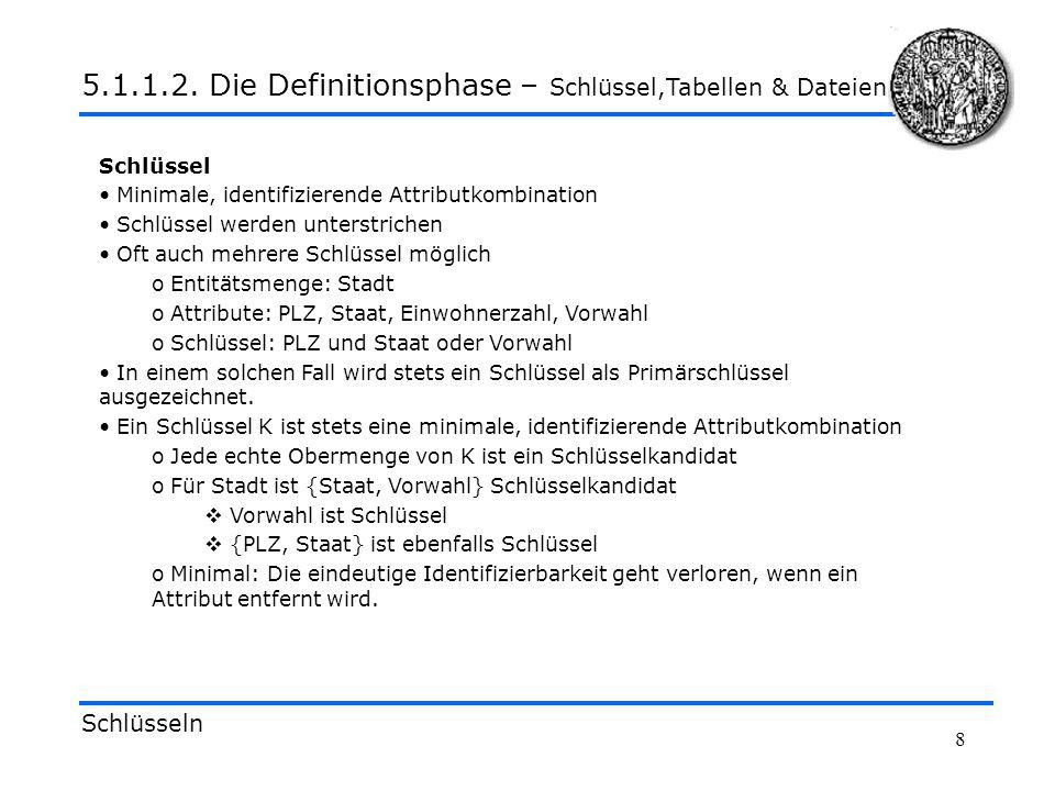 5.1.1.2. Die Definitionsphase – Schlüssel,Tabellen & Dateien