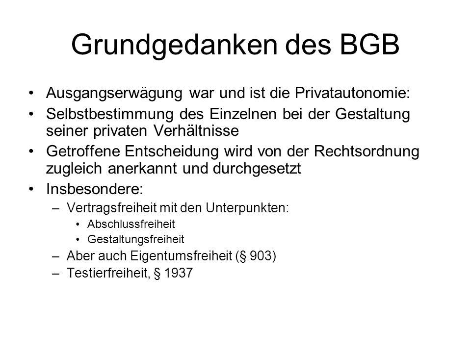 Grundgedanken des BGB Ausgangserwägung war und ist die Privatautonomie: