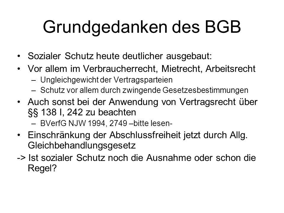 Grundgedanken des BGB Sozialer Schutz heute deutlicher ausgebaut: