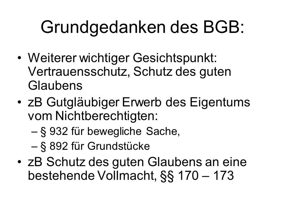 Grundgedanken des BGB: