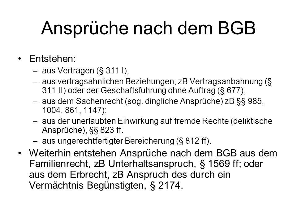 Ansprüche nach dem BGB Entstehen: