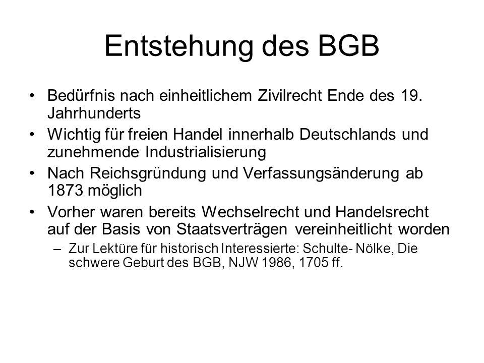 Entstehung des BGB Bedürfnis nach einheitlichem Zivilrecht Ende des 19. Jahrhunderts.