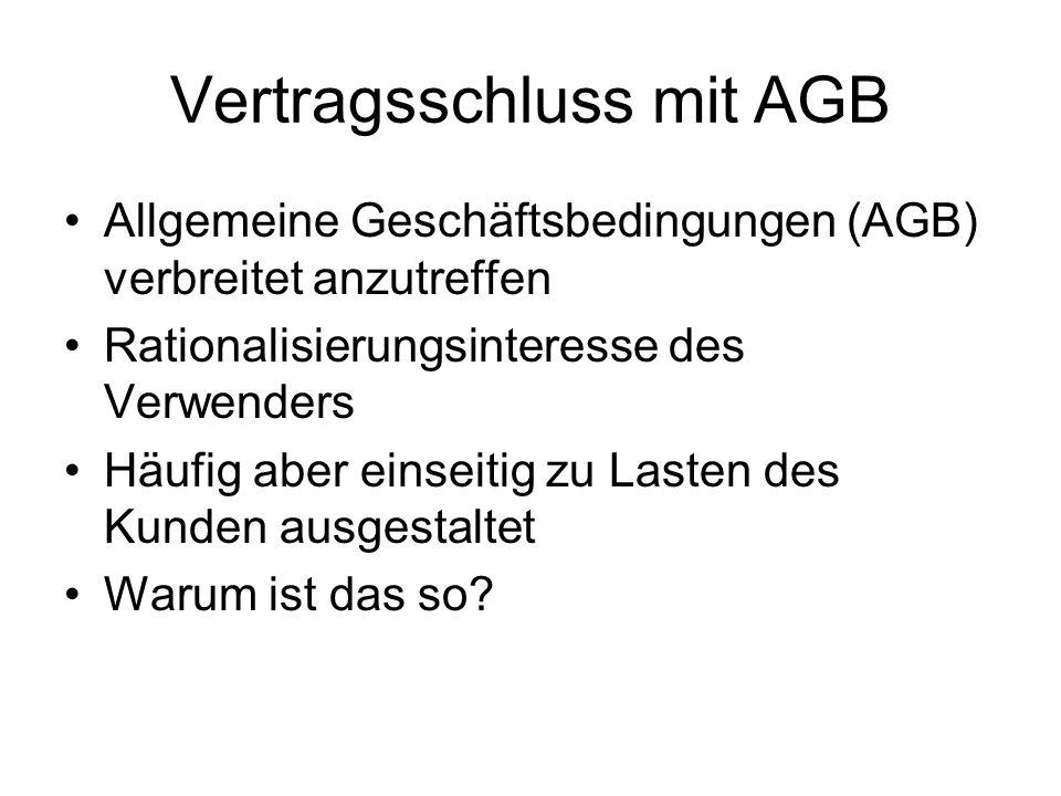 Vertragsschluss mit AGB
