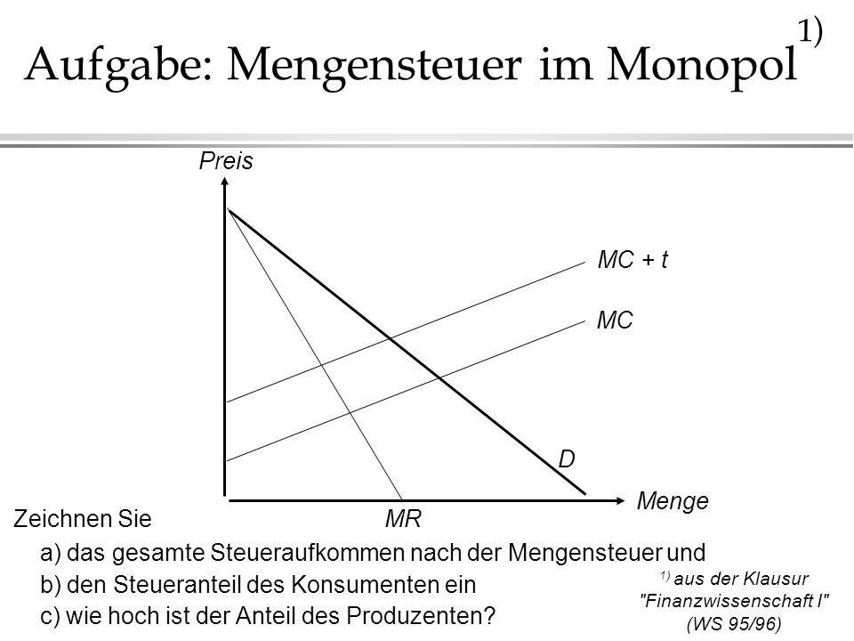 Aufgabe: Mengensteuer im Monopol1)