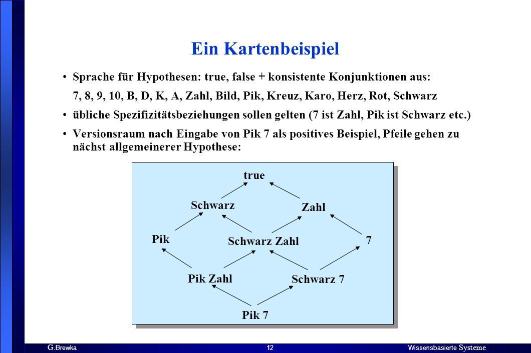 Ein Kartenbeispiel Sprache für Hypothesen: true, false + konsistente Konjunktionen aus: