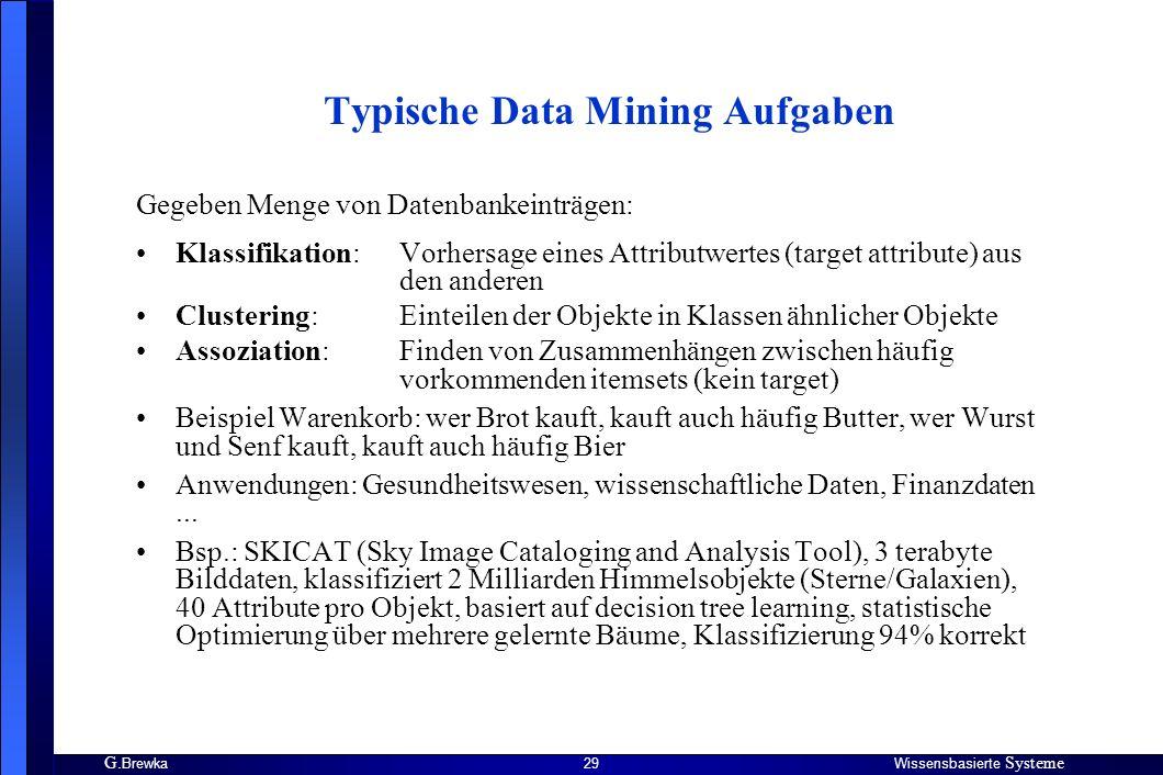 Typische Data Mining Aufgaben
