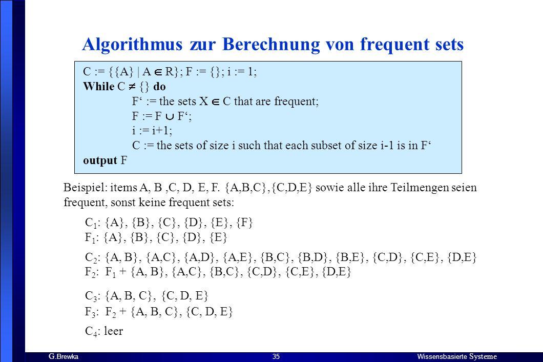 Algorithmus zur Berechnung von frequent sets