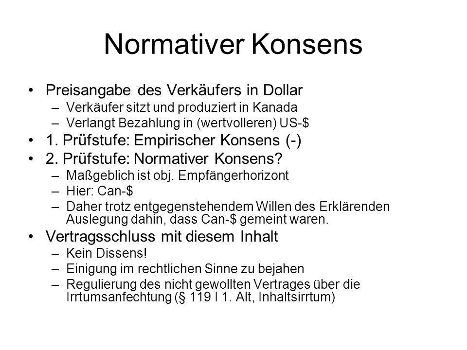 Normativer Konsens Preisangabe des Verkäufers in Dollar