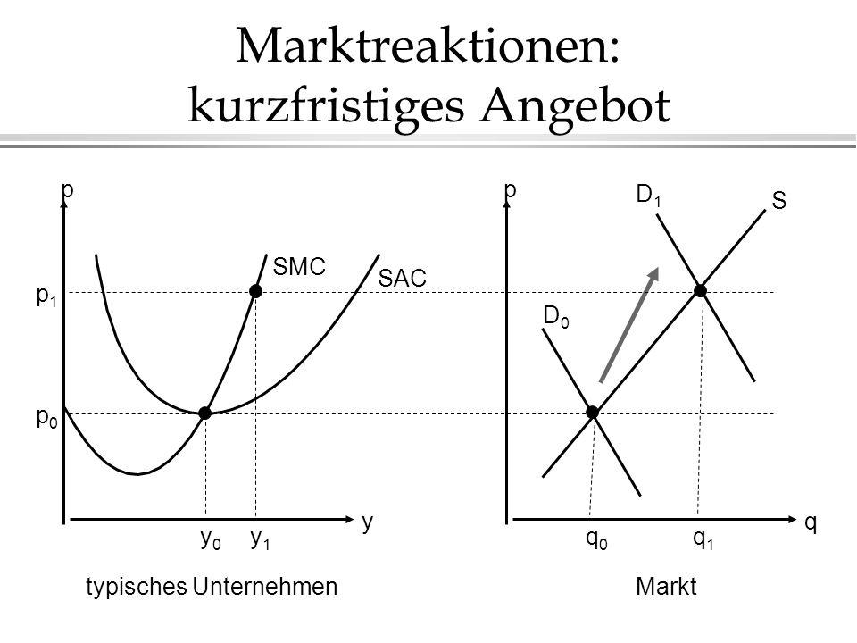 Marktreaktionen: kurzfristiges Angebot