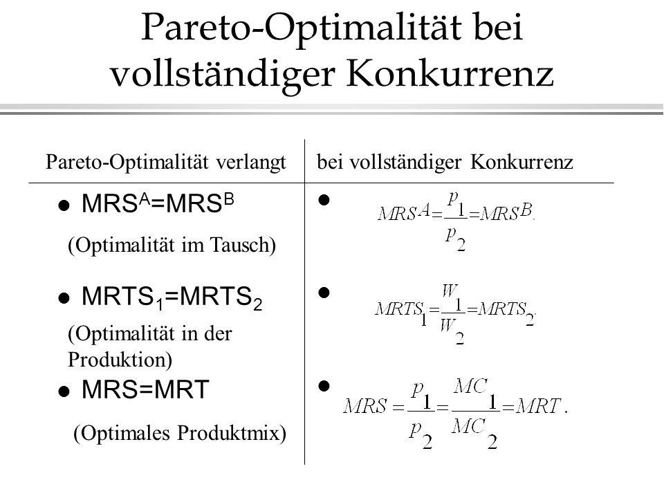 Pareto-Optimalität bei vollständiger Konkurrenz