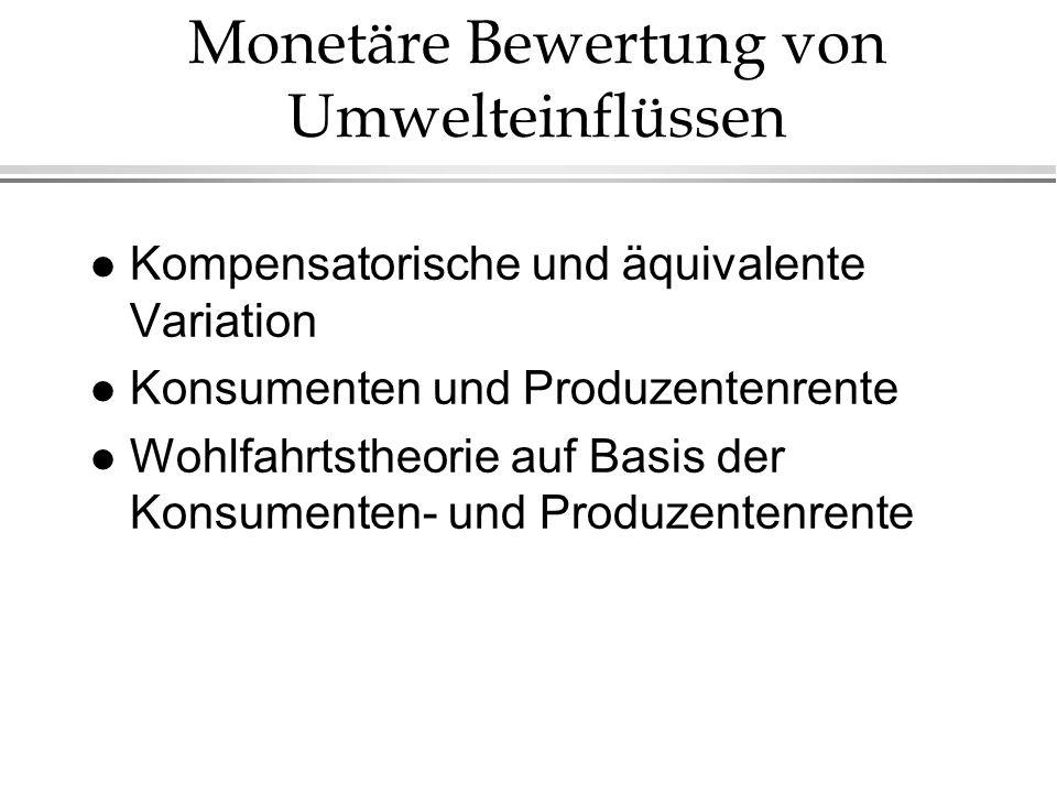 Monetäre Bewertung von Umwelteinflüssen