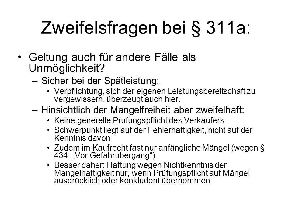 Zweifelsfragen bei § 311a: