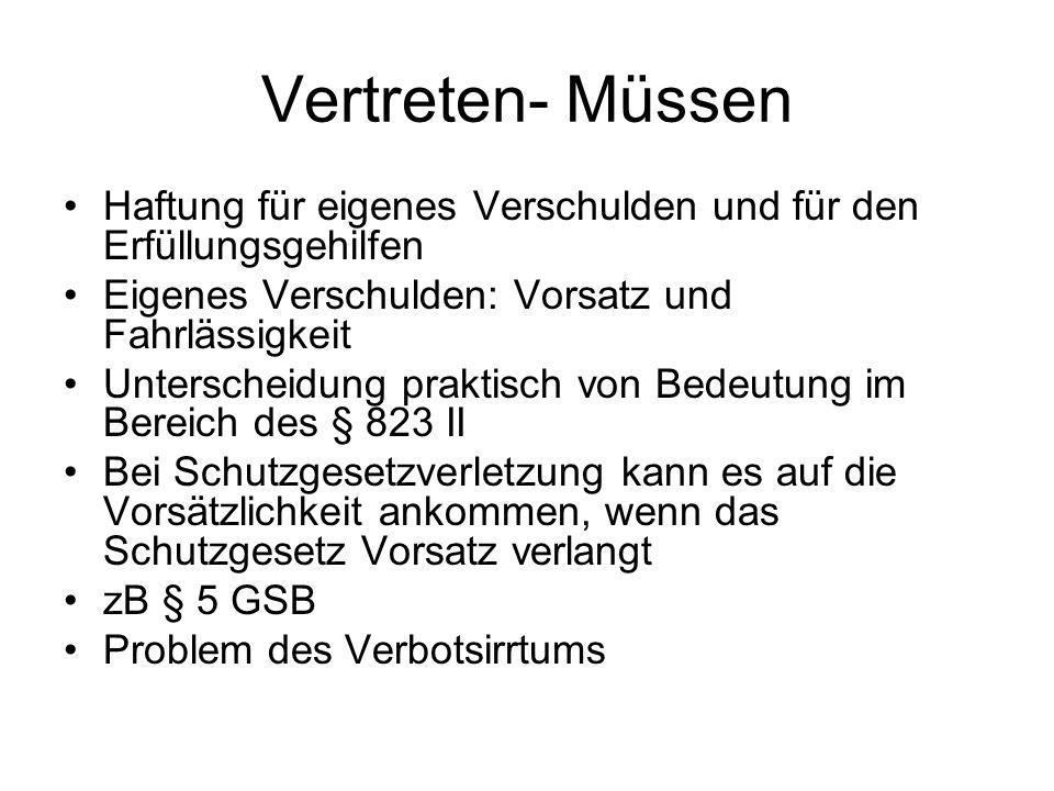 Vertreten- Müssen Haftung für eigenes Verschulden und für den Erfüllungsgehilfen. Eigenes Verschulden: Vorsatz und Fahrlässigkeit.