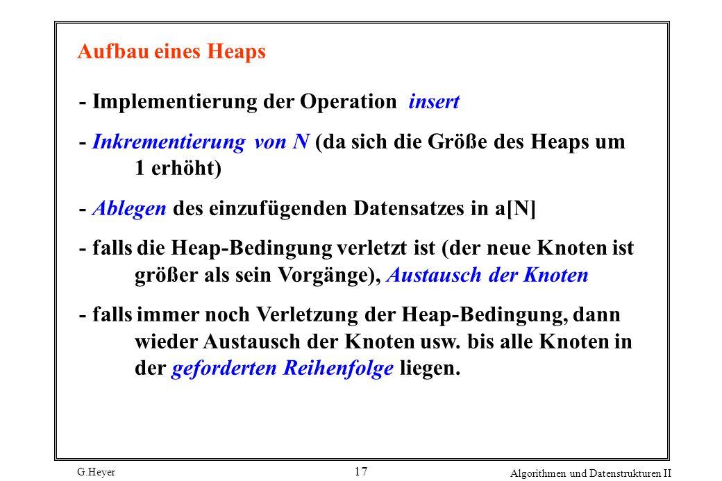 Aufbau eines Heaps - Implementierung der Operation insert. - Inkrementierung von N (da sich die Größe des Heaps um 1 erhöht)