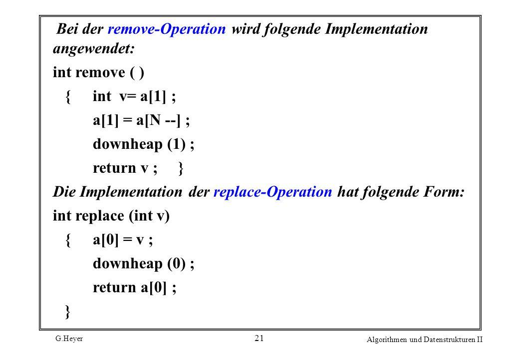 Bei der remove-Operation wird folgende Implementation