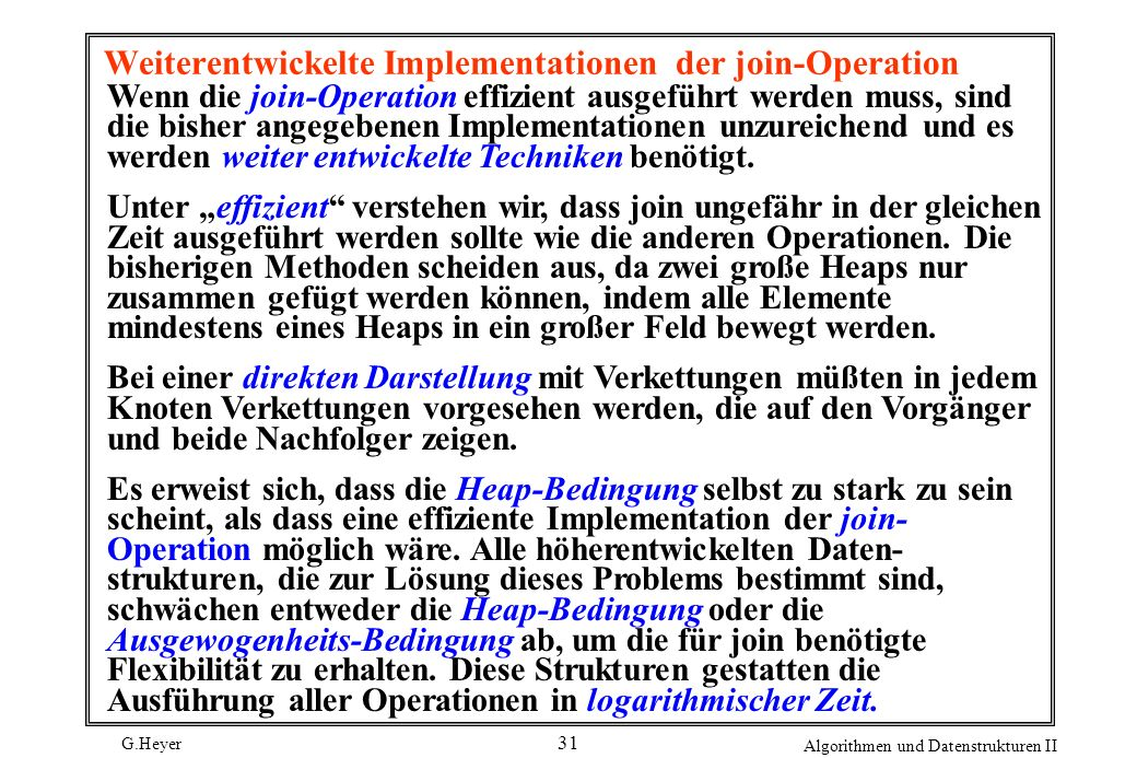 Weiterentwickelte Implementationen der join-Operation