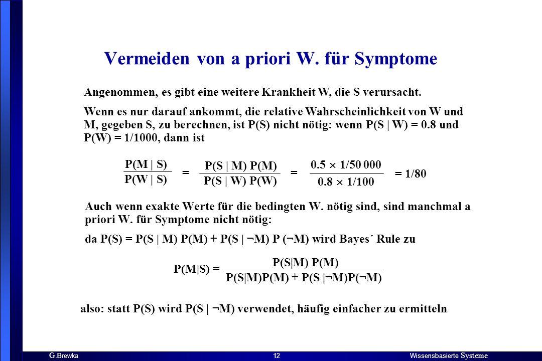 Vermeiden von a priori W. für Symptome