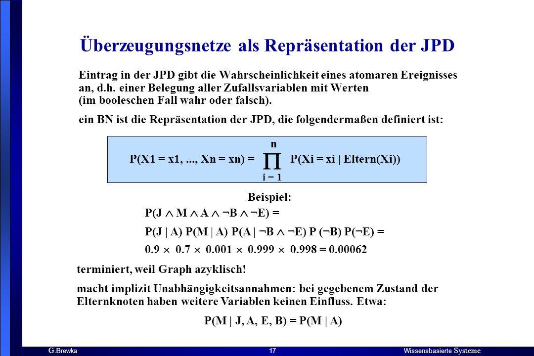 Überzeugungsnetze als Repräsentation der JPD
