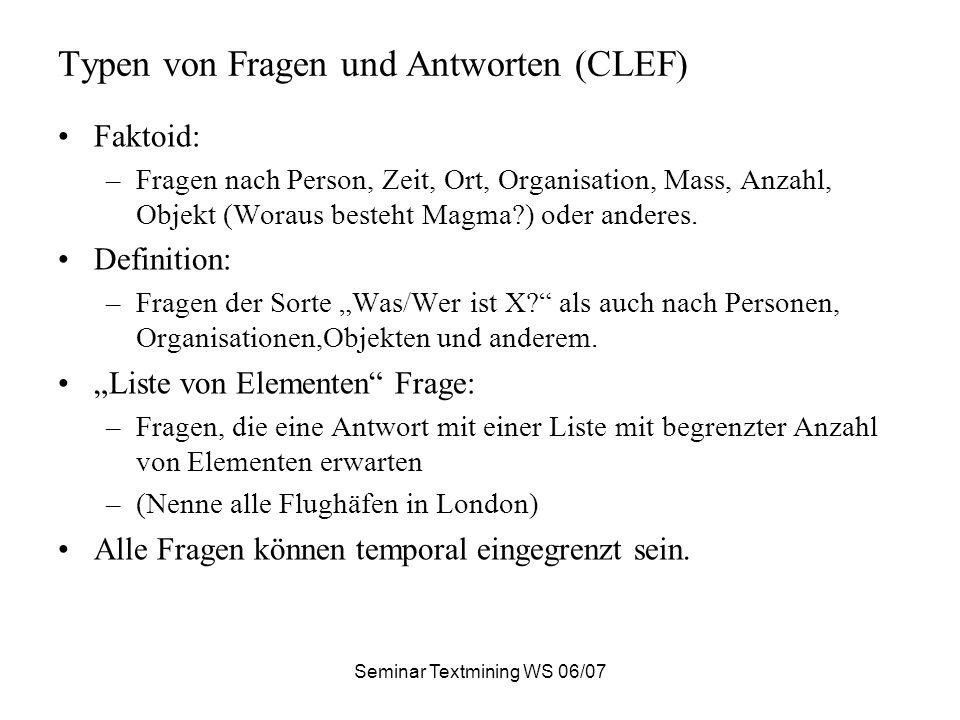 Typen von Fragen und Antworten (CLEF)